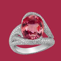 AMAZING 15.25CTW RED OVAL 925 STERLING SILVER ENGAGEMENT AND WEDDING RING