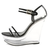 Shoe Republic LA Amador Lucite Wedges BLACK