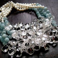huge quartz and aquamarine bib necklace | rockedjewelry - Jewelry on ArtFire