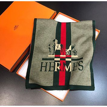 Hermes Women Scarf Shawl Silk Cape Scarf Scarves