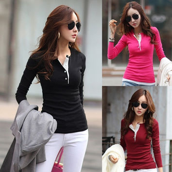 New Women Ladies Sweatshirt Shirt Tops Casual Solid Long Sleeve Blouse  F_F