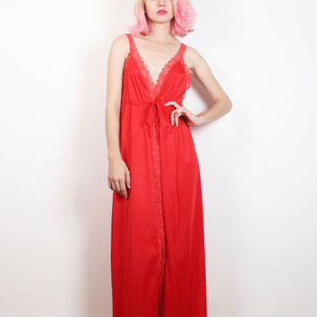 Vintage 1980s Lingerie Slip Dress Bright Lipstick Red Sheer Lace Panels Deep V Neck Babydoll Nightgown 1980s Sexy Maxi Dress House Gown M L