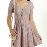 Striped Henley Skater Dress by Charlotte Russe