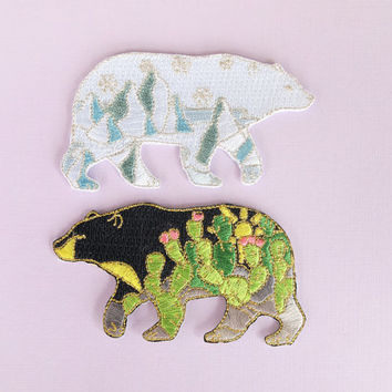 """Bear 3"""" embroidered iron-on patch"""