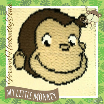 "George Monkey Afghan baby to toddlers approx 36""x36"" Monkey Baby Graphghan"