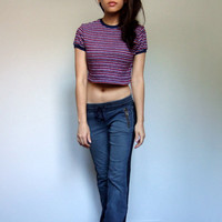 90s Crop Top Casual Striped Red White Short Sleeve Summer Tshirt Tee - Small to Medium S M