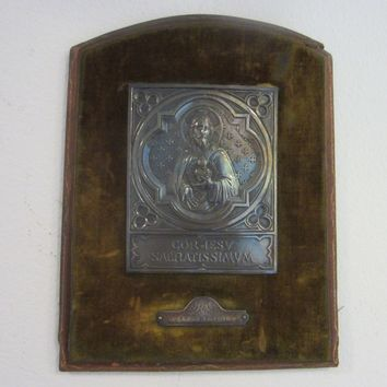 Silver Religious Icon Plaque Circa 1914 Mount Leather Velvet