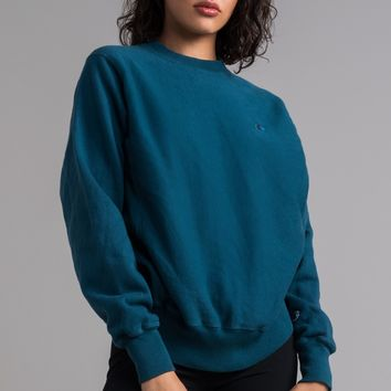 Champion Reverse Weave Women's Crew Neck Small Embroidered C Sweatshirt in Mission Green, Upstate Blue, Juniper Blue