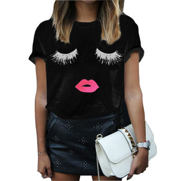 New Arrival 2016 Summer Style Women Elegant Lashes Lip Print T Shirt Casual Loose Simple O Neck White Top Tees Blusas