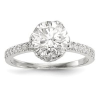 10k White Gold Solid Tiara Collection CZ Crown Set Ring