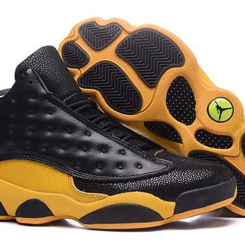 2017 Air Jordan 13 Black Yellow Leather - Beauty Ticks