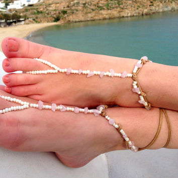 Barefoot sandals. beaded sandals,gemstones boho barefoot sandles, crochet barefoot sandals, , yoga, anklet hippie shoes
