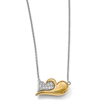 Sterling Silver 14k Gold Plate Cr. White Sapphire Heart Necklace, 22in