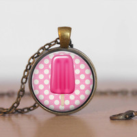 Ice Cream pendant necklace, pop art pendant, pink popsicle, summer jewelry, hot pink jewelry, made in USA by Dixie Dazzle