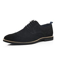 River Island MensBlack suede lace up brogues