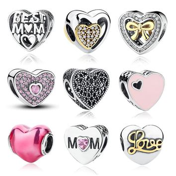 12 Style Original 925 Sterling Silver Heart Shape Love Beads Fit  Charms Bracelet Jewelry Valentine's Mother's Day GIFT