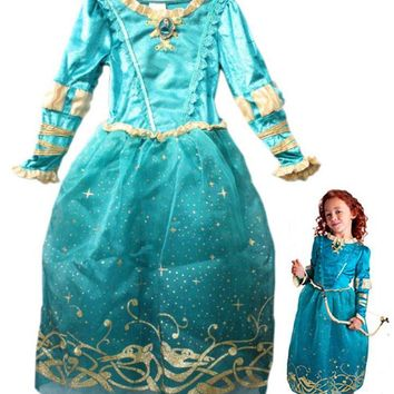Free shipping,girl children Tangled Rapunzel Brave Merida princess costume dress for 4-12 years old girl ,cartoon movie costume