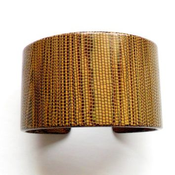 Vintage Resin Cuff Bracelet - Pono by Joan Goodman - Brown Black - Pixelated Wood Grain - Snakeskin - High End Italy - Couture