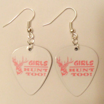 Light Pink Girls Hunt too Deer head Guitar Pick earrings Country Jewelry