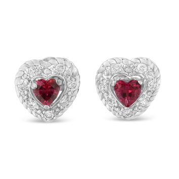 Sterling Silver 0.37ct TDW Ruby and Diamond Heart Shape Earrings