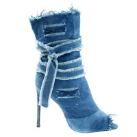 Barbara20 Wash Denim By Liliana Frayed & Destroyed Jean Denim Boot, Peep Toe Calf High Bootie & Strap