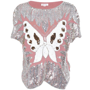 Butterfly Sequined Pink Women's Dolman Blouse