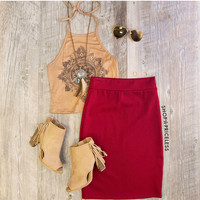 Verona Pencil Skirt - Wine
