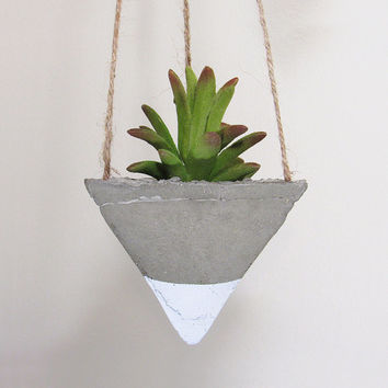 Succulent Planter, Concrete Planter, Hanging Planter, Air Plant Holder, Geometric Planter, White Planter, Modern Planter, Indoor Planter