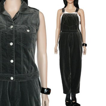 90s Gray Velvet Overalls and Vest 2 Piece Outfit Vintage Minimalist Grunge Baggy Pants Clothing Womens Size Small