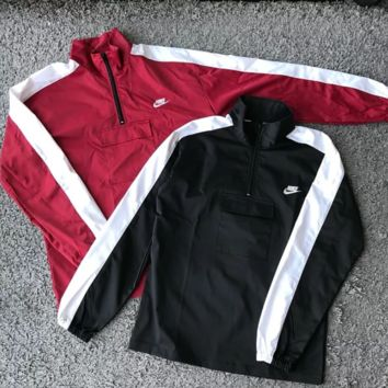 NIKE New fashion bust letter print and back letter print half zipper couple windbreaker top