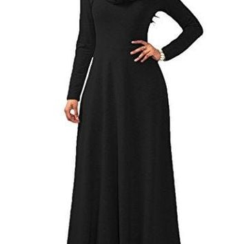 onlypuff Women Maxi Dress Cowl Neck Casual Long Sleeve Swing Fall Winter Dress Loose Fit Party …