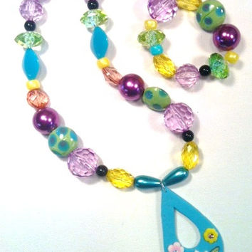 Chunky Bauble Glam Necklace and Bracelet Set for Baby Girls or Little Princesses' Photo Session Props.  One of a kind.