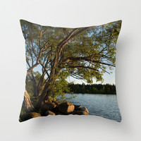 Scenic Throw Pillow Cover Nature Photography Print Polyester Cottage Chic Decor Pillow Case Beach decor blue green brown