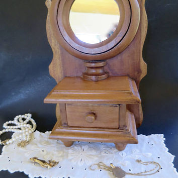 Vintage Wood Vanity Mirror w/ Drawer Box Tilt Mirror Wood Back Vanity Hanging or Standing Mirror Keepsake Drawer Vanity Jewelry Box