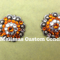 Set of two 1 inch Antique conchos. Sun and Clear Swarovski crystals with a regular screw and back. Screws included.
