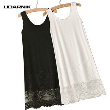 Vest Lace Dress Render Extender Long Tank Tee Cotton Top Sleeveless Trim Layer Night Casual Wear 904-171