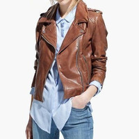 Faux Leather Notched Long-Sleeve Zippered Jacket