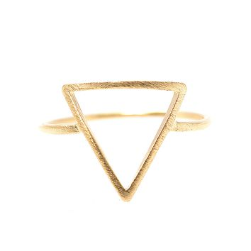 Handcrafted Brushed Metal Cut Out Geometric Triangle Ring