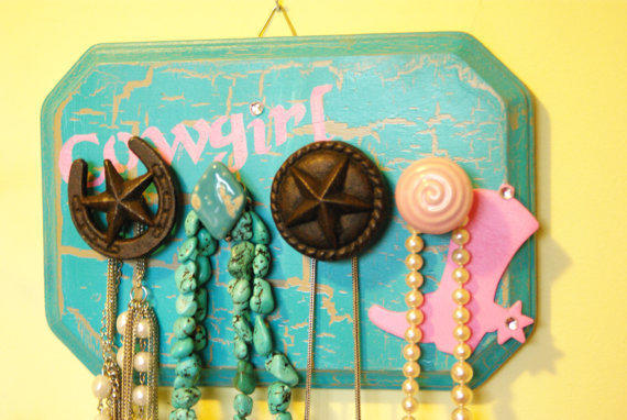 Cowgirl Jewelry Hanger, Necklace Holder, Cowgirl theme, Teal and pink, rustic, cowgirl glam, country western, Cottage Chic