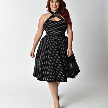 Unique Vintage Plus Size 1950s Style Black & Ivory Dot Criss Cross Halter Flare Rita Dress