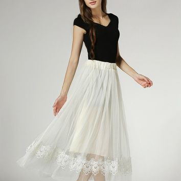 Women  Fashion Sexy Casual Novelty Skirt European and American Solid Temperament Wild Yarn Lace Edge Fairy Skirt S3626