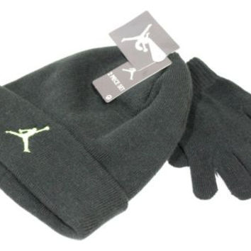 Jordan Kid's Beanie/Gloves Set Black/Lime Jumpman size 8/20