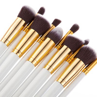 Free ship Masquerade fashion Dense soft Synthetic Hair white color Wood handle 10pcs makeup brush set Professional Makeup Tools