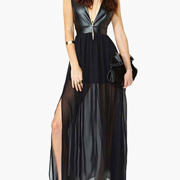 Black Sleeveless Deep V-Neck with Side Slit Mesh and Leather Maxi Dress