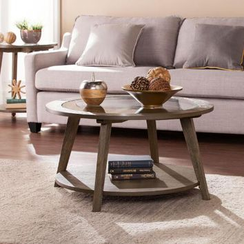 Round Rustic Wood And Glass Kyle Coffee Table