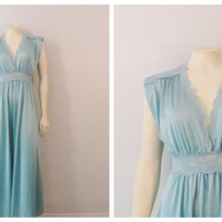 Vintage Nightgown Olga 9623 Blue Ocean Lace Waist Nylon Satin Skirt Size Small Fits Modern Small Medium to Large