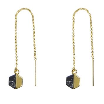 Hexagon Black Howlite Threader Earrings