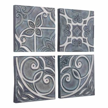 Tiles Set of 4 Wall Decor Blue