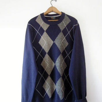 Vintage Mens Argyle Sweater Plum Alexander Julian Colours  LT LargeTall  Mens Cotton Sweater