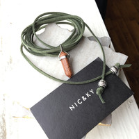 Extra Long Olive Green Choker